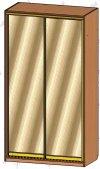 Шкаф-купе 2-х створчатый в2,0м с 2-мя зеркальными дверями (ш1200в2000г600)